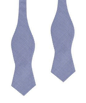 Blue Gingham Cotton Self Tie Diamond Bow Tie
