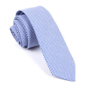 Blue Gingham Cotton Skinny Tie