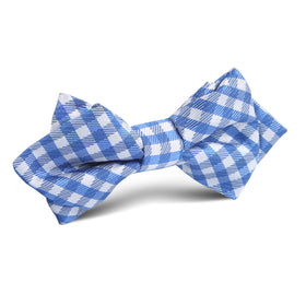 Blue Gingham Diamond Bow Tie