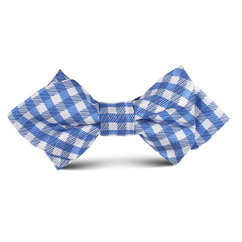 Blue Gingham Kids Diamond Bow Tie