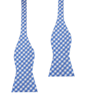 Blue Gingham Self Tie Bow Tie