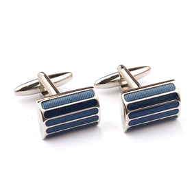 Silver with Harvard Blue Cufflinks