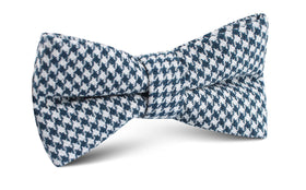 Blue Houndstooth Raw Linen Bow Tie