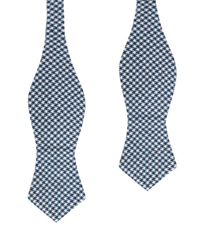 Blue Houndstooth Raw Linen Diamond Self Bow Tie