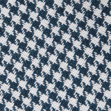 Blue Houndstooth Raw Linen Fabric Kids Diamond Bow Tie