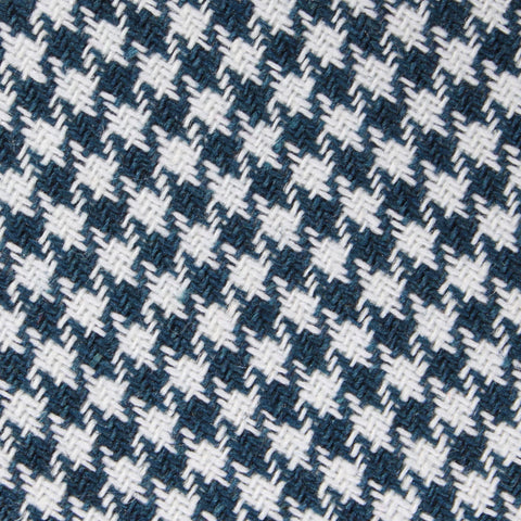 Blue Houndstooth Raw Linen Diamond Bow Tie