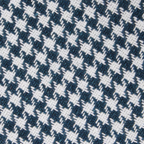 Blue Houndstooth Raw Linen Pocket Square