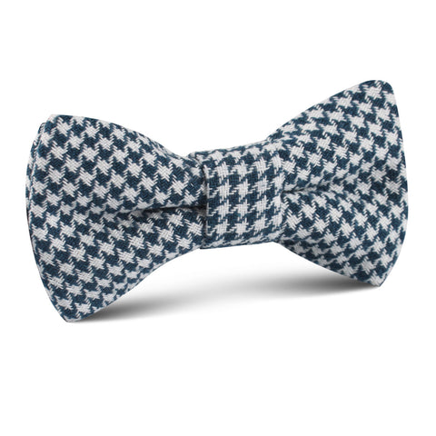 Blue Houndstooth Raw Linen Kids Bow Tie