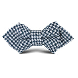 Blue Houndstooth Raw Linen Kids Diamond Bow Tie