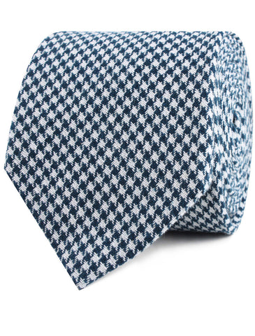 Blue Houndstooth Raw Linen Tie
