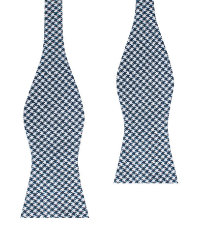 Blue Houndstooth Raw Linen Self Bow Tie
