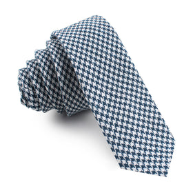 Blue Houndstooth Raw Linen Skinny Tie