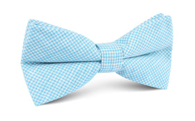 Blue Joy Houndstooth Linen Bow Tie