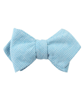 Blue Joy Houndstooth Linen Diamond Self Bow Tie