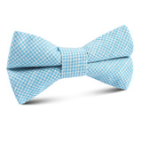 Blue Joy Houndstooth Linen Kids Bow Tie