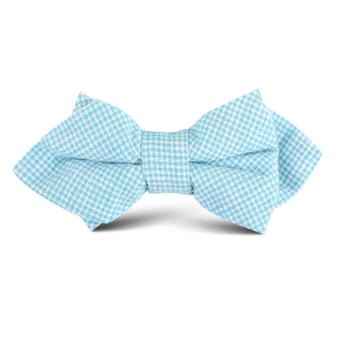 Blue Joy Houndstooth Linen Kids Diamond Bow Tie