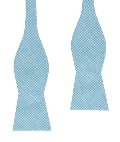 Blue Joy Houndstooth Linen Self Bow Tie