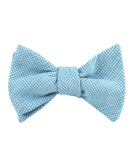 Blue Joy Houndstooth Linen Self Tied Bowtie