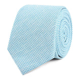 Blue Joy Houndstooth Linen Slim Tie