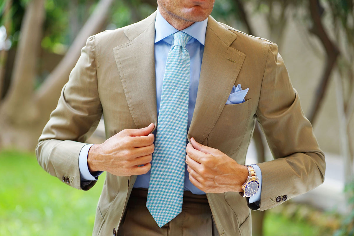 Blue Joy Houndstooth Linen Tie