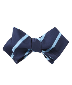 Blue Pencil Stripe Diamond Self Bow Tie