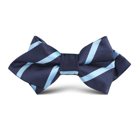 Blue Pencil Stripe Kids Diamond Bow Tie
