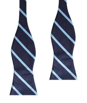 Blue Pencil Stripe Self Bow Tie