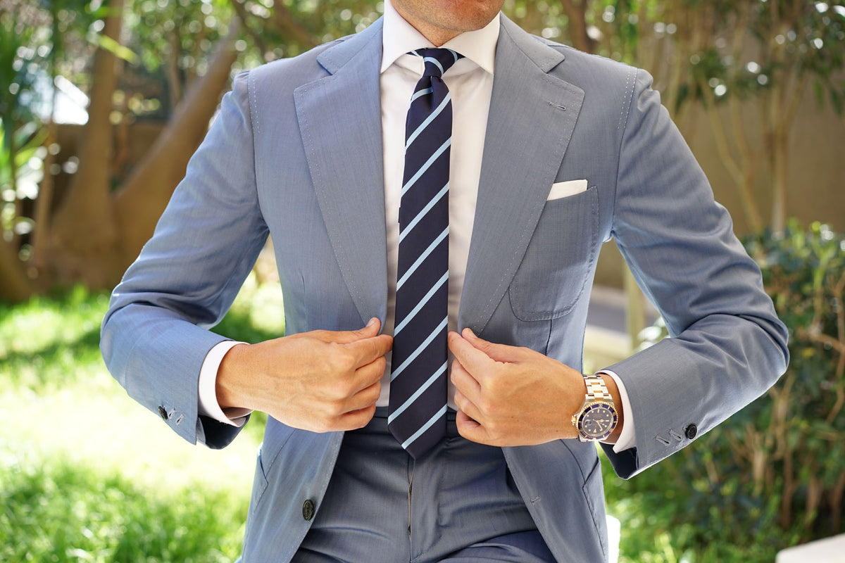 Blue Pencil Stripe Skinny Tie