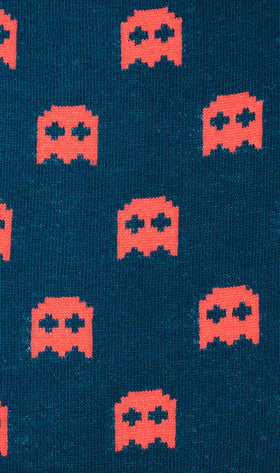 Blue Pixel Ghost Socks