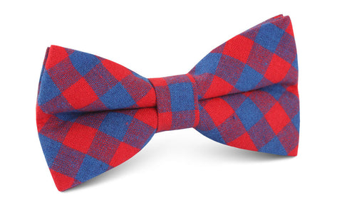 Blue & Red Gingham Bow Tie