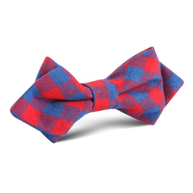 Blue & Red Gingham Diamond Bow Tie