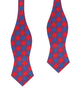 Blue & Red Gingham Diamond Self Bow Tie