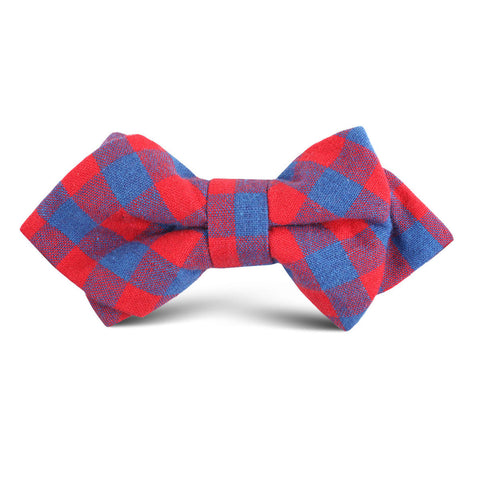 Blue & Red Gingham Kids Diamond Bow Tie