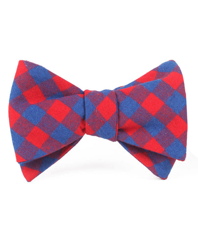 Blue & Red Gingham Self Bow Tie