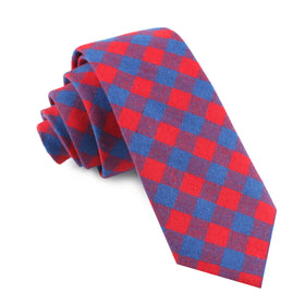 Blue & Red Gingham Skinny Tie