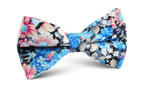 Blue Water Lilies Floral Bow Tie