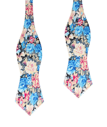 Blue Water Lilies Floral Diamond Self Bow Tie