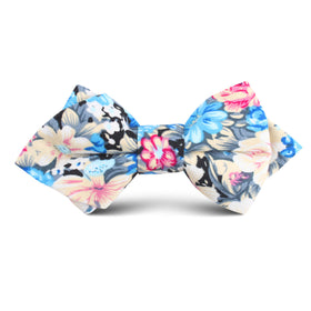 Blue Water Lilies Floral Kids Diamond Bow Tie