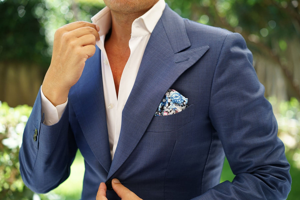 Blue Water Lilies Floral Pocket Square