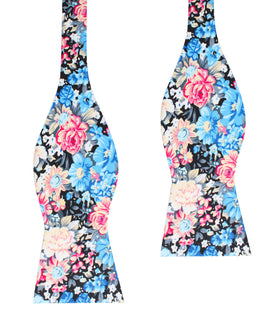 Blue Water Lilies Floral Self Bow Tie