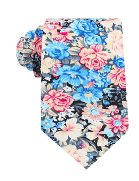 Blue Water Lilies Floral Tie