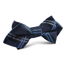 Blue X Diamond Bow Tie