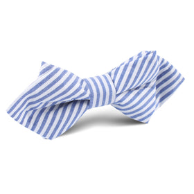 Blue and White Chalk Stripe Cotton Diamond Bow Tie