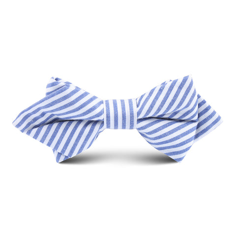 Blue and White Chalk Stripe Cotton Kids Diamond Bow Tie