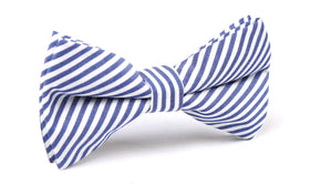 Blue and White Chalk Stripes Cotton Bow Tie