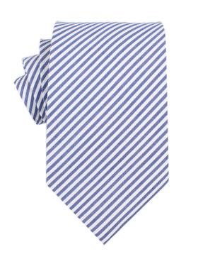 Blue and White Chalk Stripes Cotton Necktie