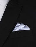 Blue and White Chalk Stripes Cotton Oxygen Three Point Pocket Square Fold