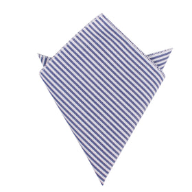 Blue and White Chalk Stripes Cotton Pocket Square