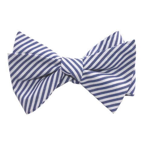 Blue and White Chalk Stripes Cotton Self Tie Bow Tie