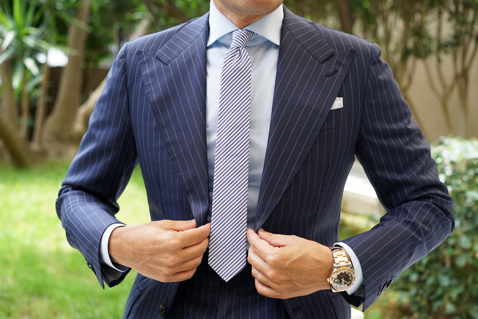 Blue and White Chalk Stripes Cotton Skinny Tie